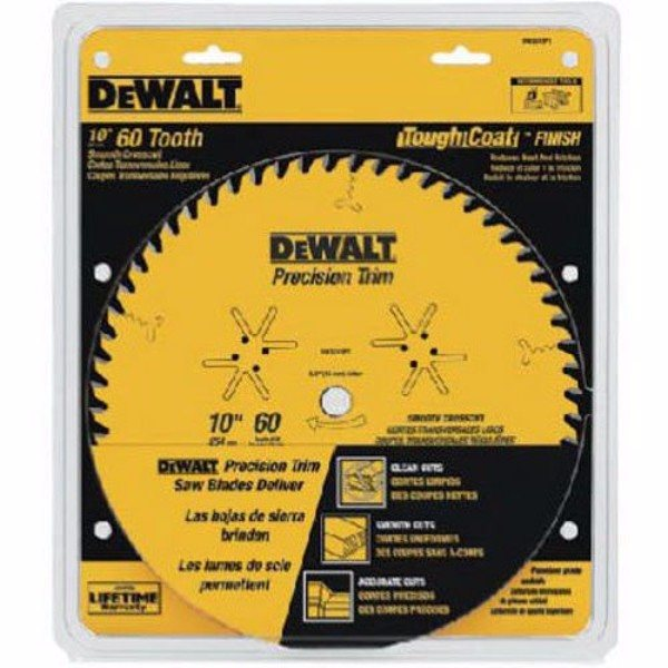 DEWALT DW3215PT 10-Inch 60 Tooth ATB Crosscutting Saw Blade with 5 or 8-Inch Arbor and Tough Coat Finish
