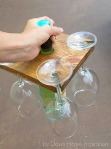 how to make a wine bottle and glass holder from wood