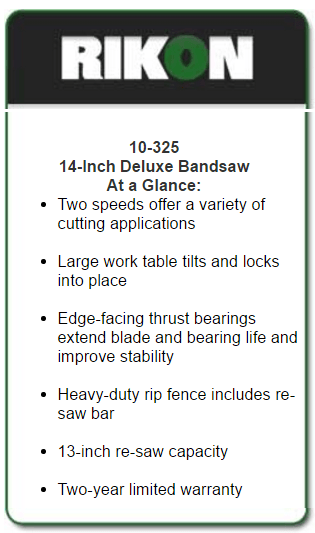 10-325 14 inch deluxe band saw at a glance