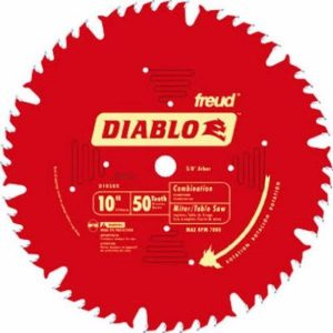 Freud D1050X Diablo 10-Inch 50-tooth ATB Combination Saw Blade with 5 or 8-Inch Arbor and PermaShield Coating