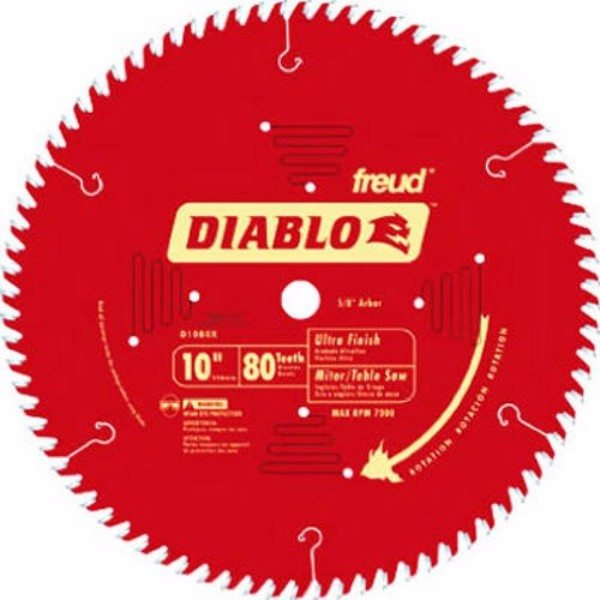 Freud D1080X Diablo 10-Inch 80-tooth ATB Finish Saw Blade with 5 or 8-Inch Arbor and PermaShield Coating